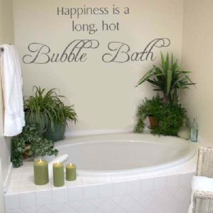 Happiness Is A Long Hot Bubble Bath Wall Stickers Decal